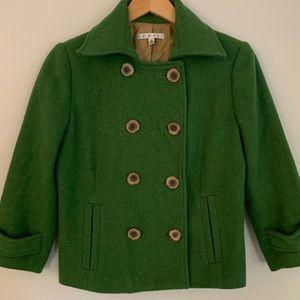 CAbi green double breasted pea coat sz 4